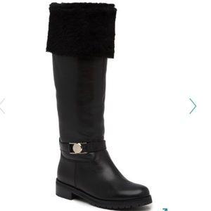 New Versace Fox Fur Cuff Tall Boots 36